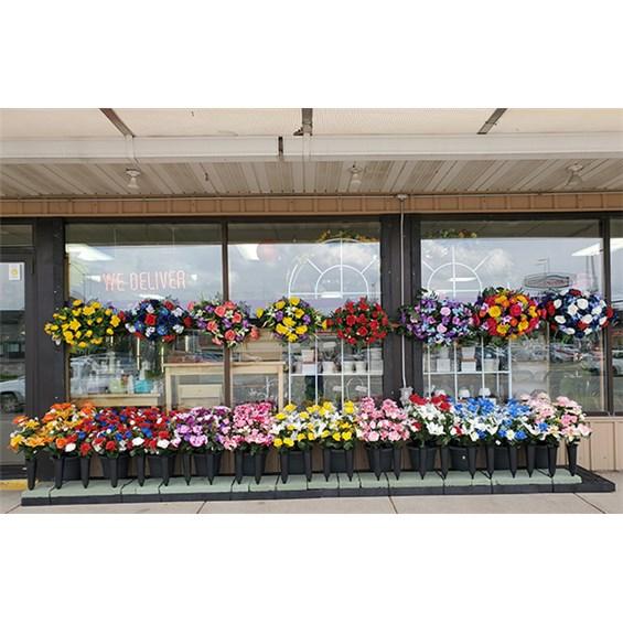 Silk Flower Arrangement Cemetery Cans Cedar Falls Ia
