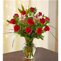 a-dozen-premium-rose-with-lilies-in-a-vase