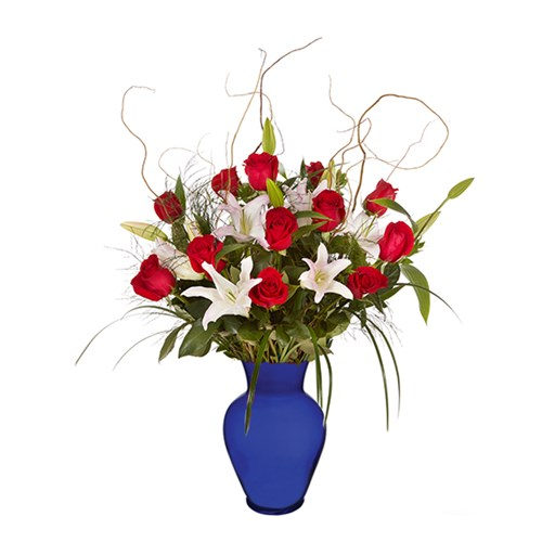 luxury-dozen-red-rose--stargazer-blue-vase