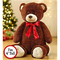 brown-bear-with-red-bow-for-valentine-s-day-February-14